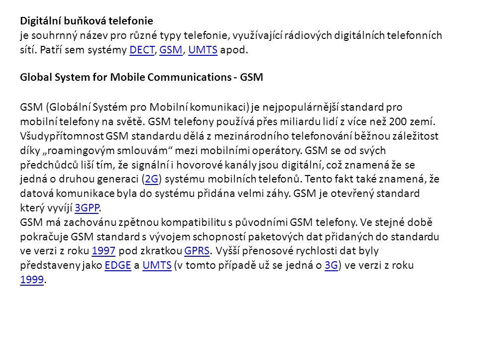 Digitální buňková telefonie je souhrnný název pro různé typy telefonie, využívající rádiových digitálních telefonních sítí. Patří sem systémy DECT, GS