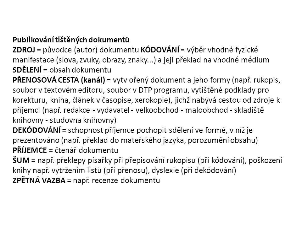 Publikování tištěných dokumentů ZDROJ = původce (autor) dokumentu KÓDOVÁNÍ = výběr vhodné fyzické manifestace (slova, zvuky, obrazy, znaky...) a její