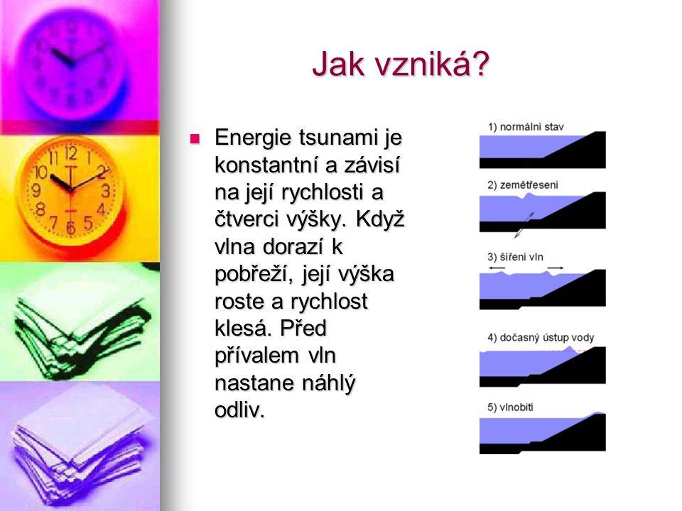 Jak vzniká.Jak vzniká. Energie tsunami je konstantní a závisí na její rychlosti a čtverci výšky.