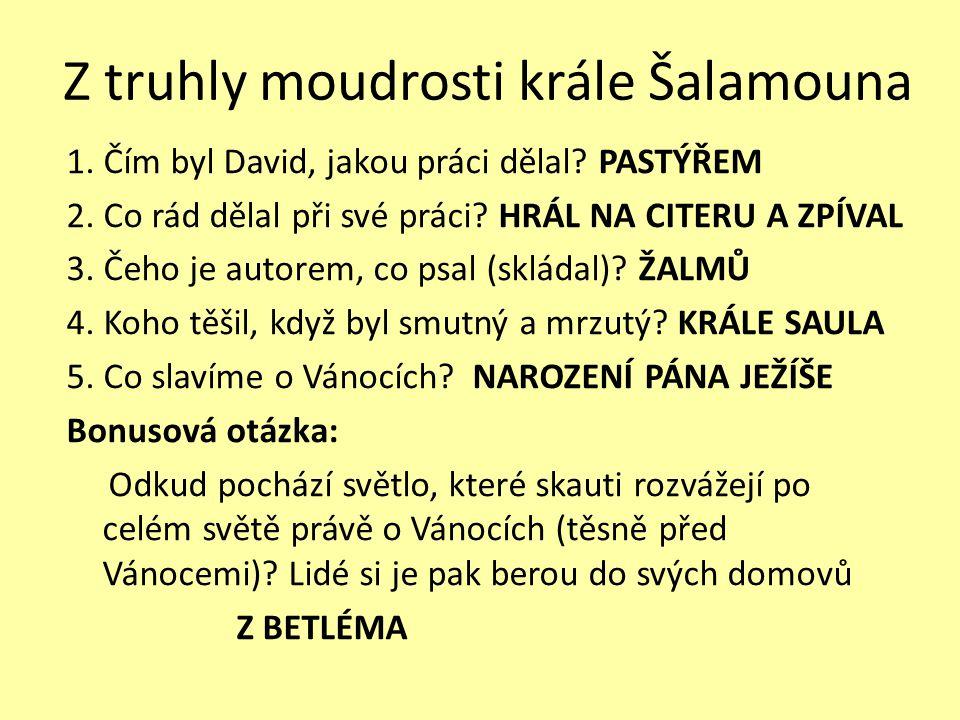 Z truhly moudrosti krále Šalamouna 1.Čím byl David, jakou práci dělal.