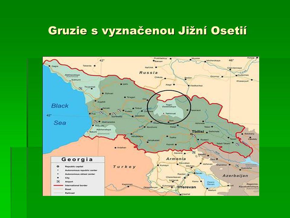 Gruzie s vyznačenou Jižní Osetií