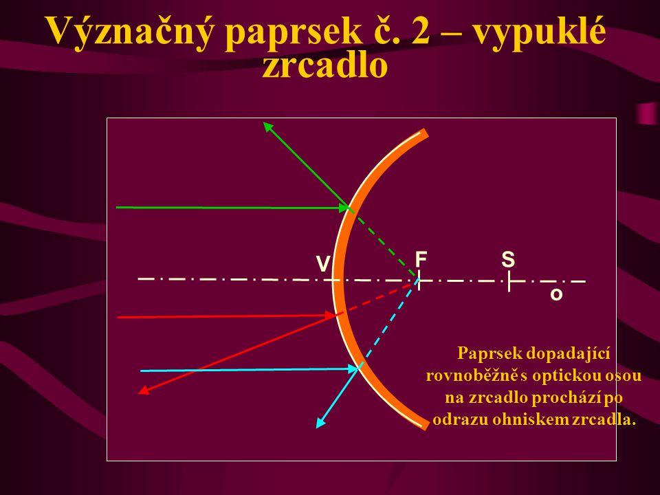 Význačný paprsek č. 2 – duté zrcadlo Paprsek dopadající rovnoběžně s optickou osou na zrcadlo prochází po odrazu ohniskem zrcadla. o V S F