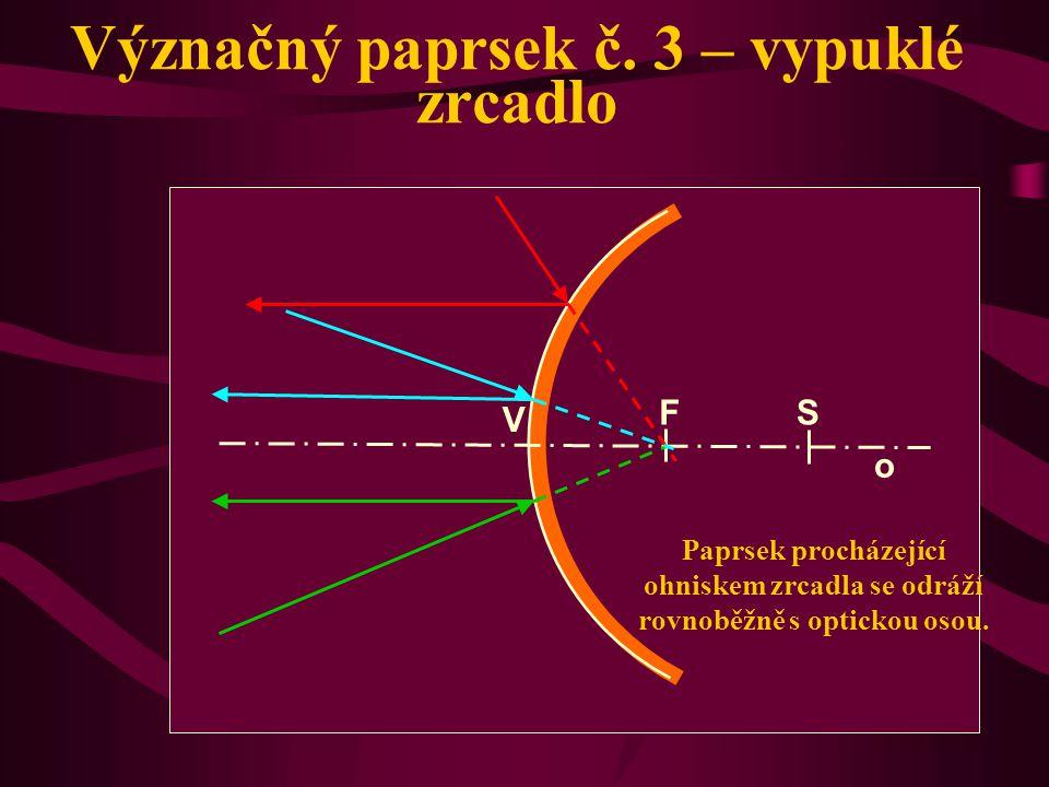 Význačný paprsek č. 3 – duté zrcadlo Paprsek procházející ohniskem zrcadla se odráží rovnoběžně s optickou osou. o V S F