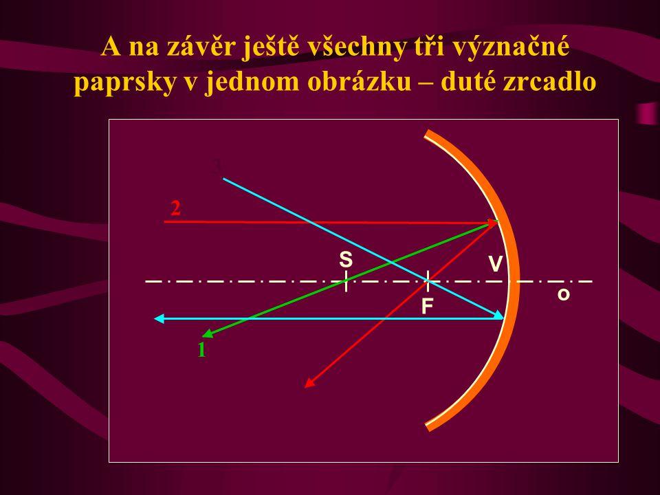 Shrnutí: Při optickém zobrazení používáme pro konstrukci obrazu 3 význačné paprsky: Paprsek procházející středem křivosti zrcadla prochází po odrazu o