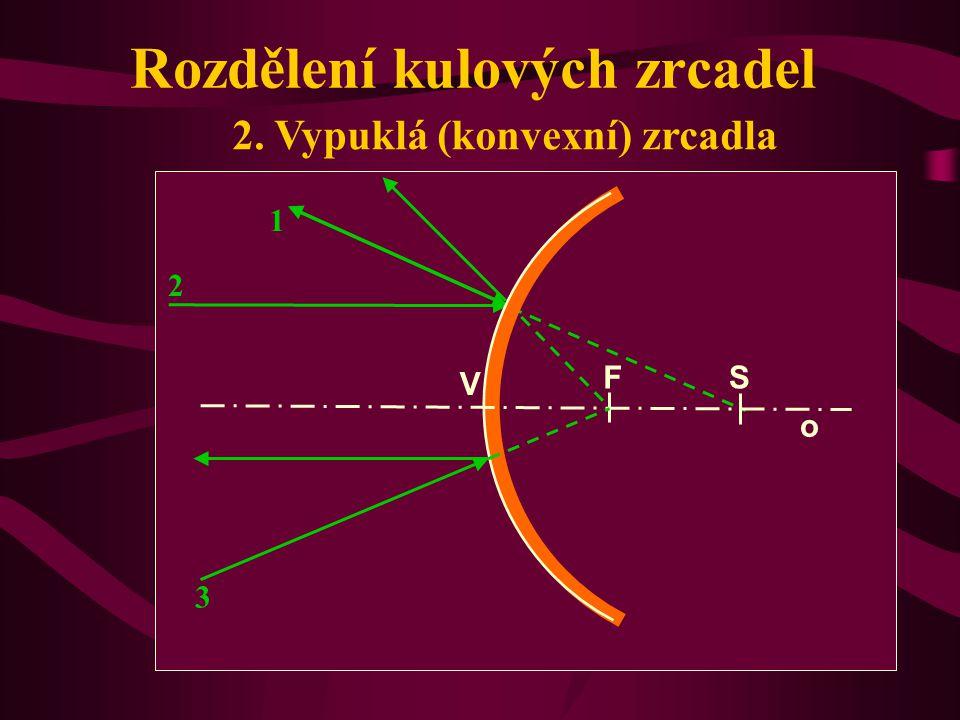 Rozdělení kulových zrcadel 1. Dutá (konkávní) zrcadla o V S F 1 2 3