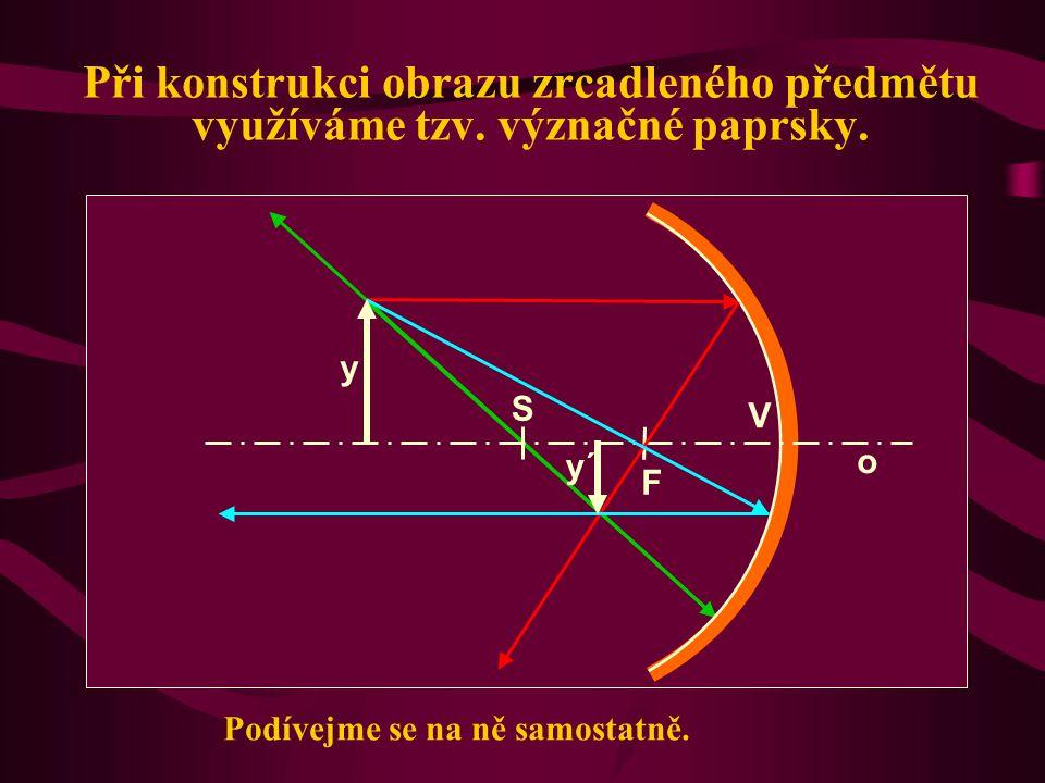 Základní údaje a popis S.... střed křivosti V.... vrchol zrcadla o.... optická osa zrcadla (přímka procházející body C a V) r = |CV|.... poloměr křivo