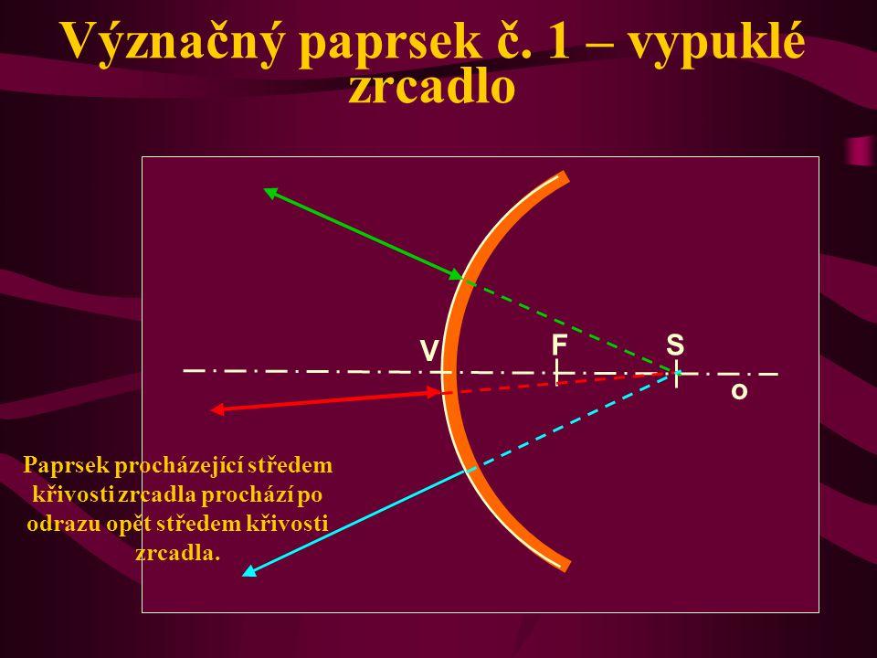 Význačný paprsek č. 1 – duté zrcadlo Paprsek procházející středem křivosti zrcadla prochází po odrazu opět středem křivosti zrcadla. o V S F