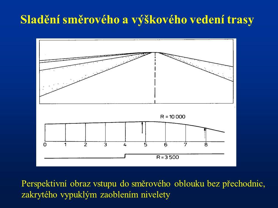 Sladění směrového a výškového vedení trasy Perspektivní obraz vstupu do směrového oblouku bez přechodnic, zakrytého vypuklým zaoblením nivelety