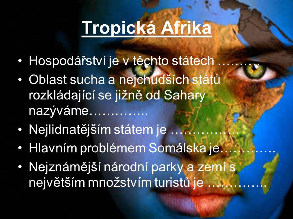 Tropická Afrika Hospodářství je v těchto státech ………. Oblast sucha a nejchudších států rozkládající se jižně od Sahary nazýváme………….. Nejlidnatějším s
