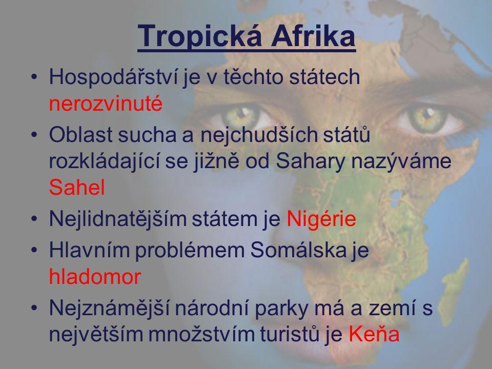 Tropická Afrika Hospodářství je v těchto státech nerozvinuté Oblast sucha a nejchudších států rozkládající se jižně od Sahary nazýváme Sahel Nejlidnat