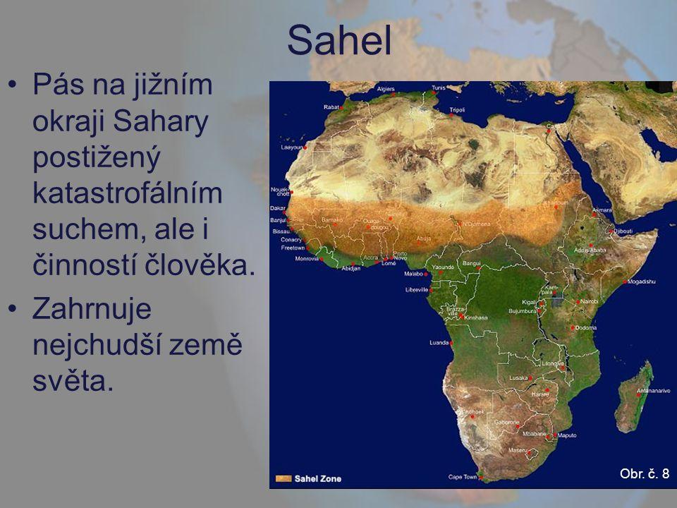 Sahel Pás na jižním okraji Sahary postižený katastrofálním suchem, ale i činností člověka. Zahrnuje nejchudší země světa. Obr. č. 8