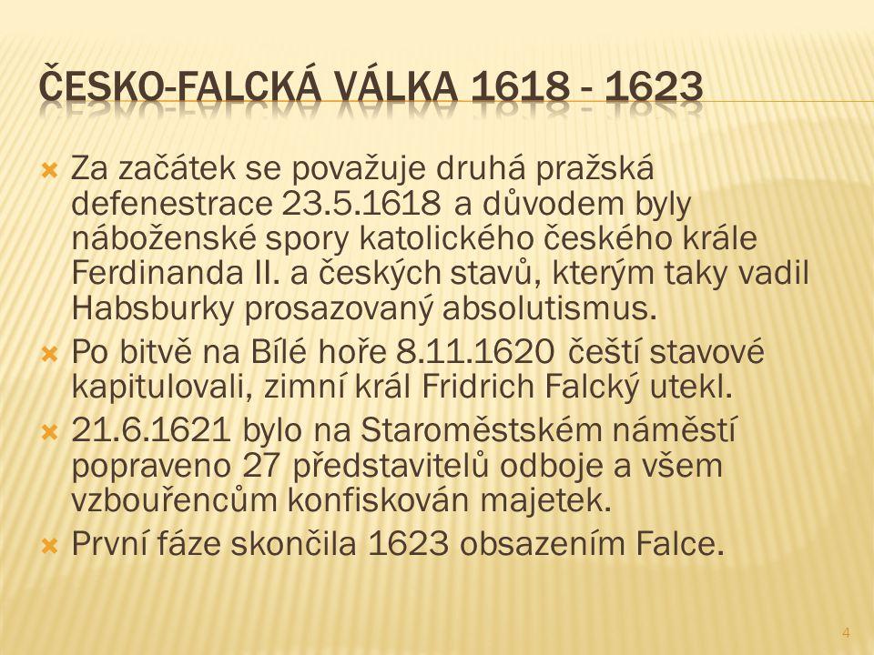  Za začátek se považuje druhá pražská defenestrace 23.5.1618 a důvodem byly náboženské spory katolického českého krále Ferdinanda II.