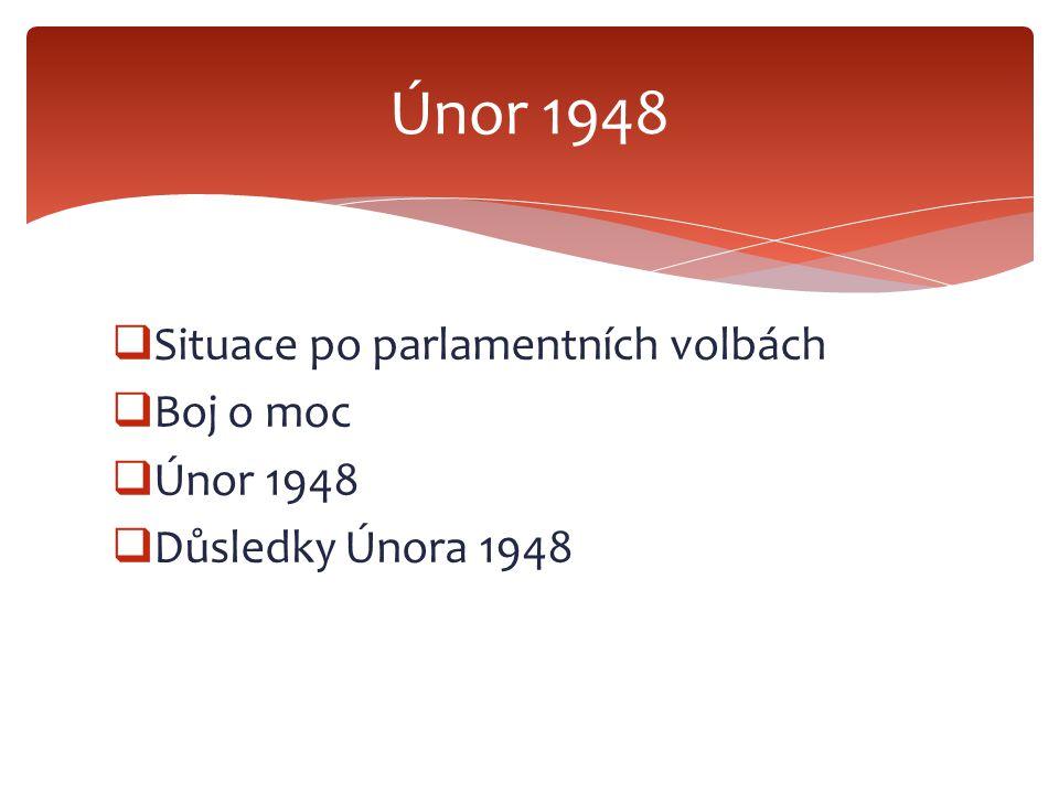  Situace po parlamentních volbách  Boj o moc  Únor 1948  Důsledky Února 1948 Únor 1948