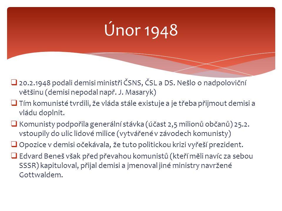  20.2.1948 podali demisi ministři ČSNS, ČSL a DS. Nešlo o nadpoloviční většinu (demisi nepodal např. J. Masaryk)  Tím komunisté tvrdili, že vláda st