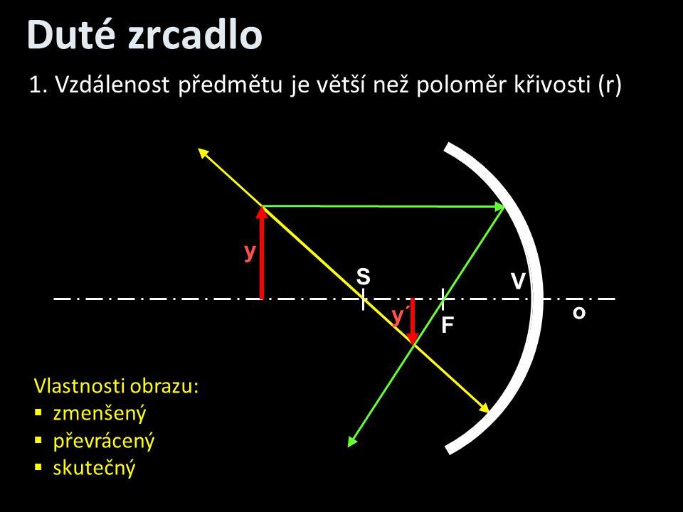 Duté zrcadlo o V S F y y´ 1. Vzdálenost předmětu je větší než poloměr křivosti (r) Vlastnosti obrazu:  zmenšený  převrácený  skutečný
