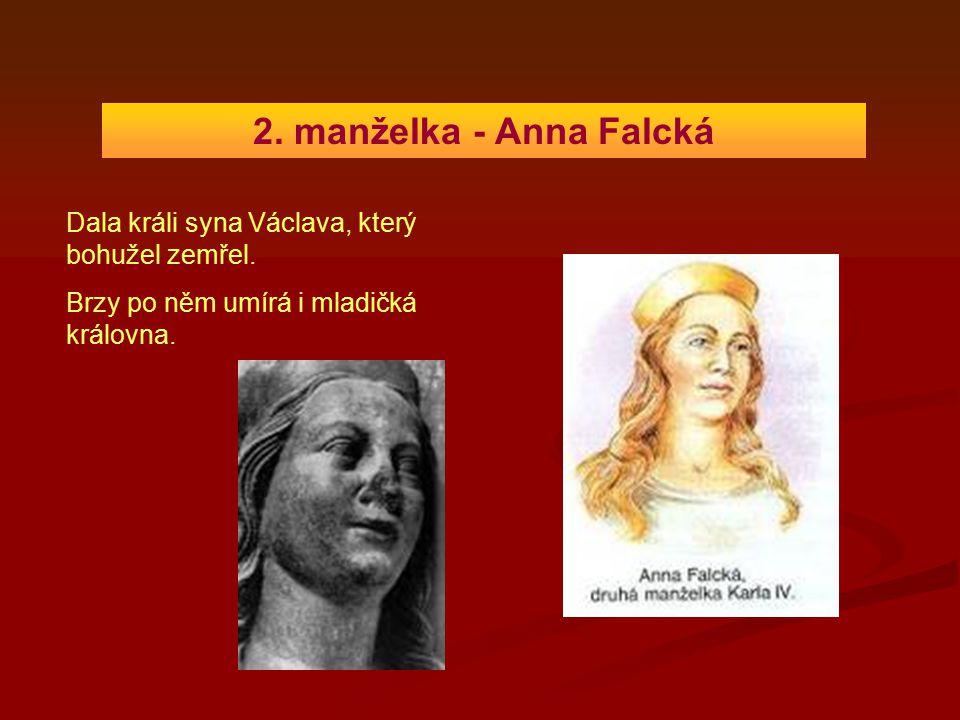 2. manželka - Anna Falcká Dala králi syna Václava, který bohužel zemřel. Brzy po něm umírá i mladičká královna.