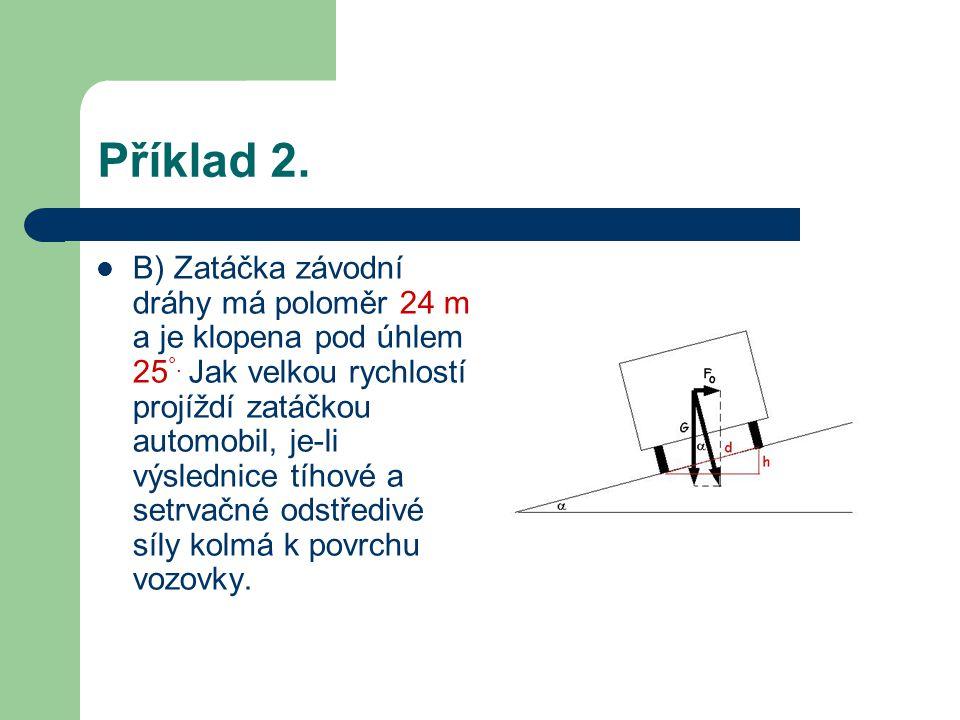 Příklad 2.B) Zatáčka závodní dráhy má poloměr 24 m a je klopena pod úhlem 25 °.