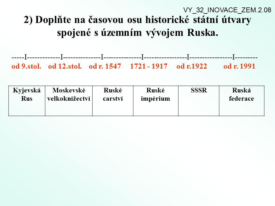 2) Doplňte na časovou osu historické státní útvary spojené s územním vývojem Ruska. -----I-------------I---------------I---------------I--------------