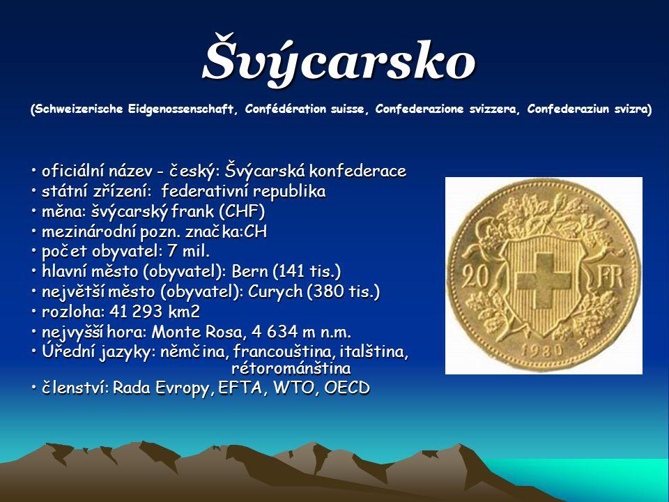 Švýcarsko oficiální název - český: Švýcarská konfederace oficiální název - český: Švýcarská konfederace státní zřízení: federativní republika státní z