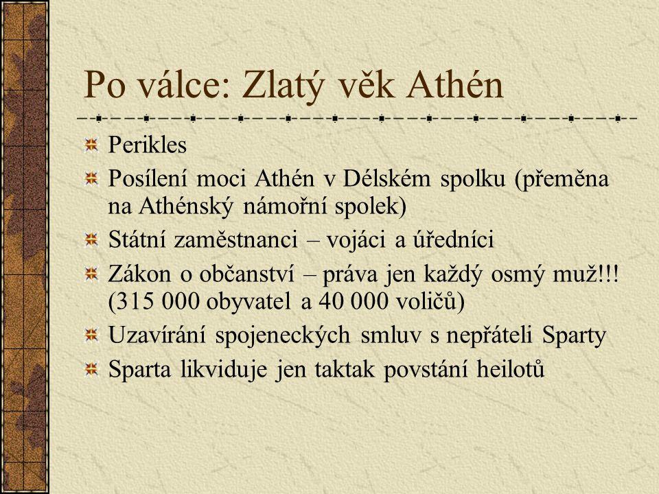 Po válce: Zlatý věk Athén Perikles Posílení moci Athén v Délském spolku (přeměna na Athénský námořní spolek) Státní zaměstnanci – vojáci a úředníci Zá