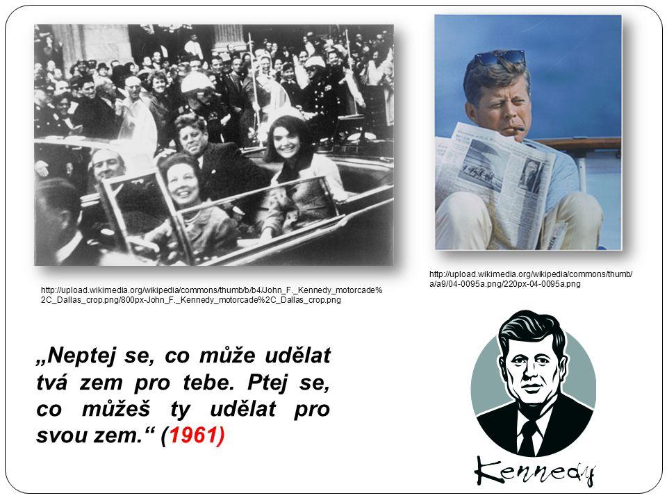 Prezident John Fitzgerald Kennedy 1960-1963, ve 43 letech prezidentem návrh zákona o občanských právech zastřelen v Dallasu - Lee Harvey Oswaldem za j
