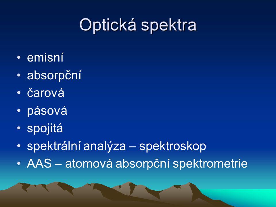Optická spektra emisní absorpční čarová pásová spojitá spektrální analýza – spektroskop AAS – atomová absorpční spektrometrie