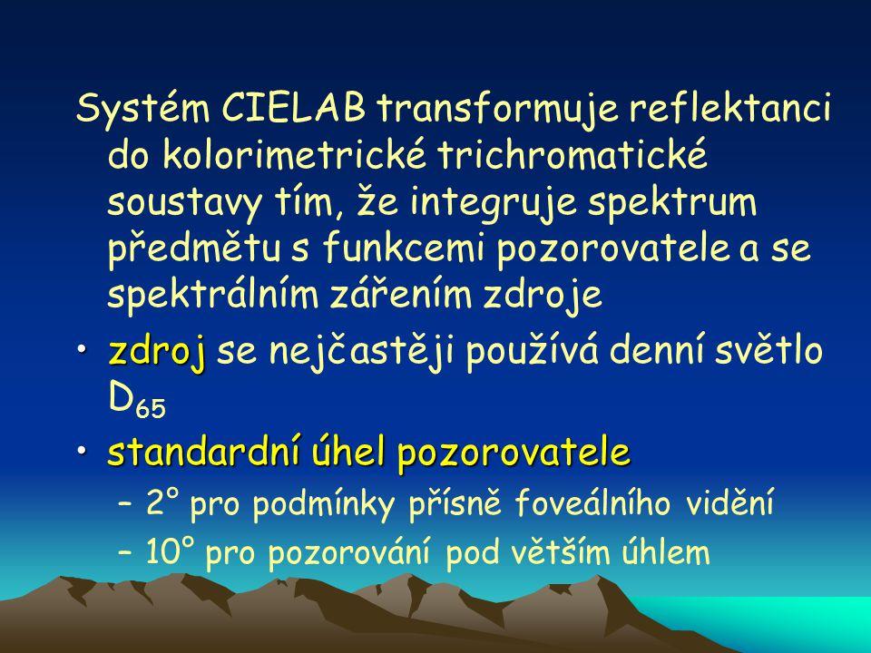 Systém CIELAB transformuje reflektanci do kolorimetrické trichromatické soustavy tím, že integruje spektrum předmětu s funkcemi pozorovatele a se spektrálním zářením zdroje zdrojzdroj se nejčastěji používá denní světlo D 65 standardní úhel pozorovatelestandardní úhel pozorovatele –2° pro podmínky přísně foveálního vidění –10° pro pozorování pod větším úhlem