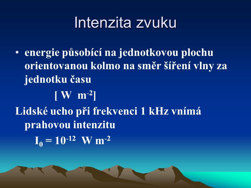 Intenzita zvuku energie působící na jednotkovou plochu orientovanou kolmo na směr šíření vlny za jednotku času [ W m -2 ] Lidské ucho při frekvenci 1 kHz vnímá prahovou intenzitu I 0 = 10 -12 W m -2