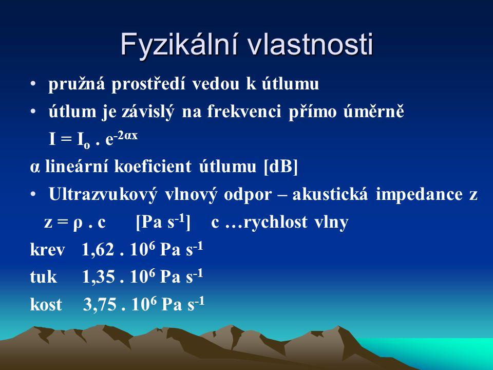 Fyzikální vlastnosti pružná prostředí vedou k útlumu útlum je závislý na frekvenci přímo úměrně I = I o.