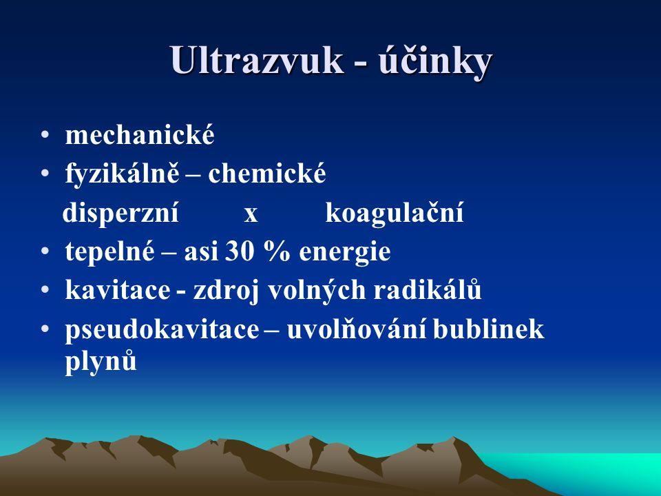 Ultrazvuk - účinky mechanické fyzikálně – chemické disperzní x koagulační tepelné – asi 30 % energie kavitace - zdroj volných radikálů pseudokavitace – uvolňování bublinek plynů