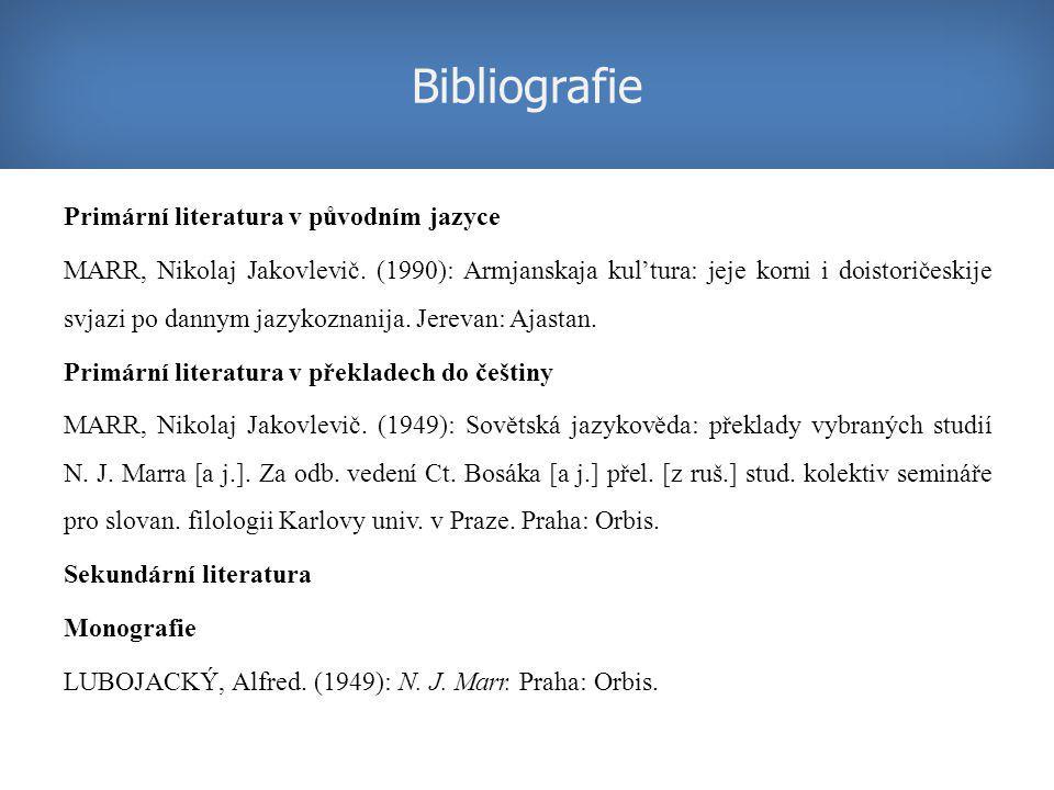 Primární literatura v původním jazyce MARR, Nikolaj Jakovlevič.