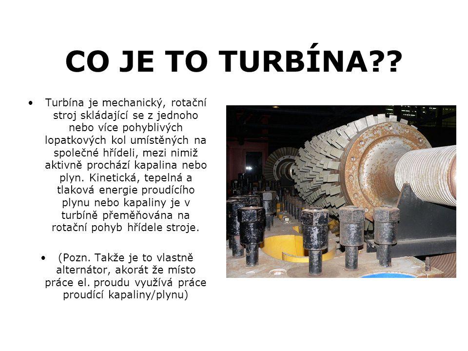 CO JE TO TURBÍNA?? Turbína je mechanický, rotační stroj skládající se z jednoho nebo více pohyblivých lopatkových kol umístěných na společné hřídeli,