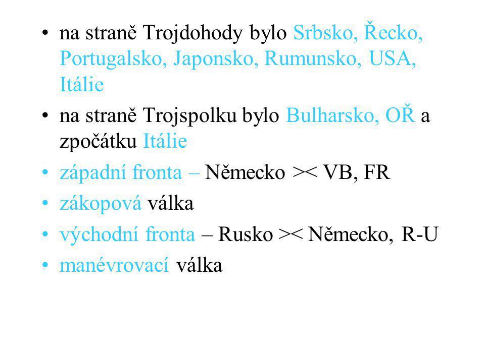 na straně Trojdohody bylo Srbsko, Řecko, Portugalsko, Japonsko, Rumunsko, USA, Itálie na straně Trojspolku bylo Bulharsko, OŘ a zpočátku Itálie západní fronta – Německo >< VB, FR zákopová válka východní fronta – Rusko >< Německo, R-U manévrovací válka