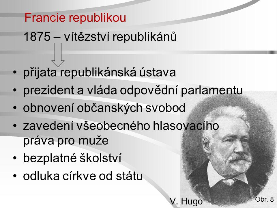 Francie republikou 1875 – vítězství republikánů přijata republikánská ústava prezident a vláda odpovědní parlamentu obnovení občanských svobod zaveden