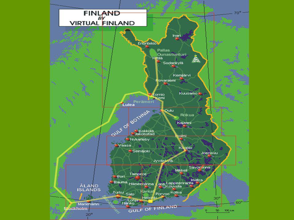 Základní údaje Hlavní město: HelsinkyHlavní město: Helsinky Měna: EuroMěna: Euro Čas: Posun: + 1 hodinaČas: Posun: + 1 hodina Rozloha: 388 145 km2Rozloha: 388 145 km2 Hlavní město: HelsinkyHlavní město: Helsinky Jazyky: finština (93%), švédština (30%), laponštinaJazyky: finština (93%), švédština (30%), laponština Správní rozdělení: 12 provinciíSprávní rozdělení: 12 provincií Počet obyvatel: 5,5 milionůPočet obyvatel: 5,5 milionů Jazyky: Finština, ŠvédštinaJazyky: Finština, Švédština Náboženství: evangelická luteránská církev (84%)Náboženství: evangelická luteránská církev (84%) Podnebí:mírné na jihu, na severu subpolární s dlouhými studenými zimami, průměrná teplota v Helsinkách je - 7°C v lednu a 17°C v červenciPodnebí:mírné na jihu, na severu subpolární s dlouhými studenými zimami, průměrná teplota v Helsinkách je - 7°C v lednu a 17°C v červenci Průměrná délka života: muži - 72, ženy – 80Průměrná délka života: muži - 72, ženy – 80 Hustota zalidnění: 16,6 obyv.