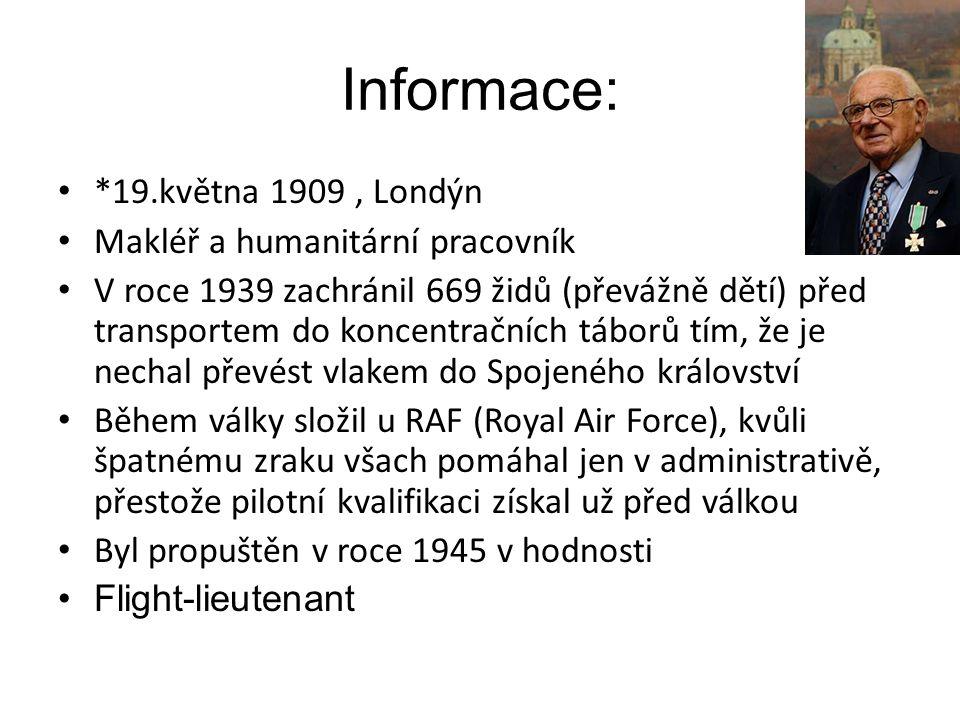 Informace: *19.května 1909, Londýn Makléř a humanitární pracovník V roce 1939 zachránil 669 židů (převážně dětí) před transportem do koncentračních tá