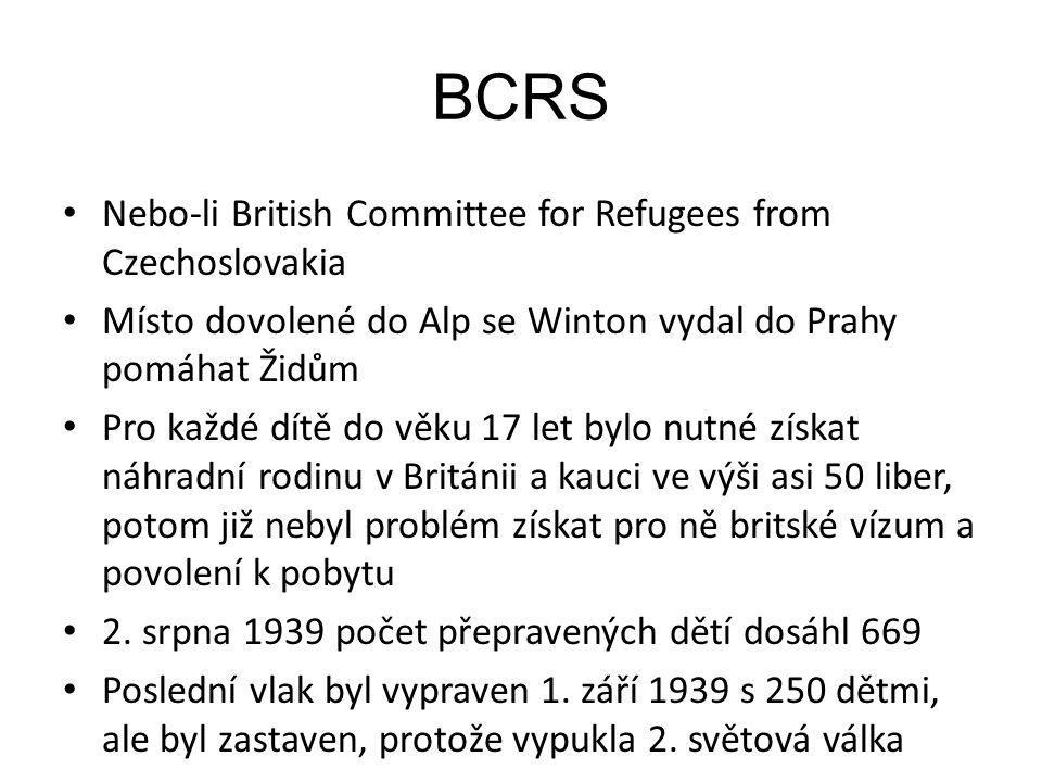 BCRS Nebo-li British Committee for Refugees from Czechoslovakia Místo dovolené do Alp se Winton vydal do Prahy pomáhat Židům Pro každé dítě do věku 17