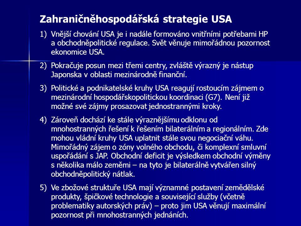 Zahraničněhospodářská strategie USA 1)Vnější chování USA je i nadále formováno vnitřními potřebami HP a obchodněpolitické regulace.