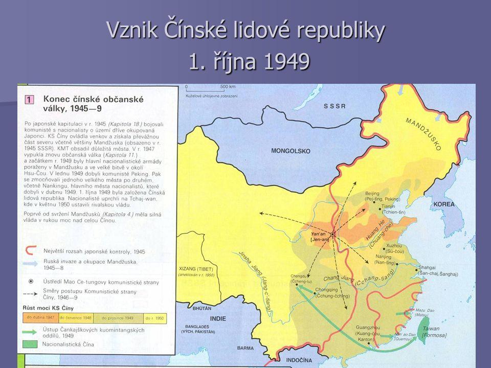 Vznik Čínské lidové republiky 1. října 1949