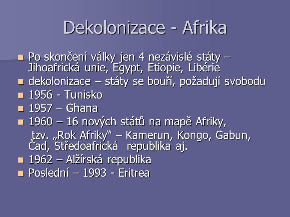 Dekolonizace - Afrika Po skončení války jen 4 nezávislé státy – Jihoafrická unie, Egypt, Etiopie, Libérie Po skončení války jen 4 nezávislé státy – Ji