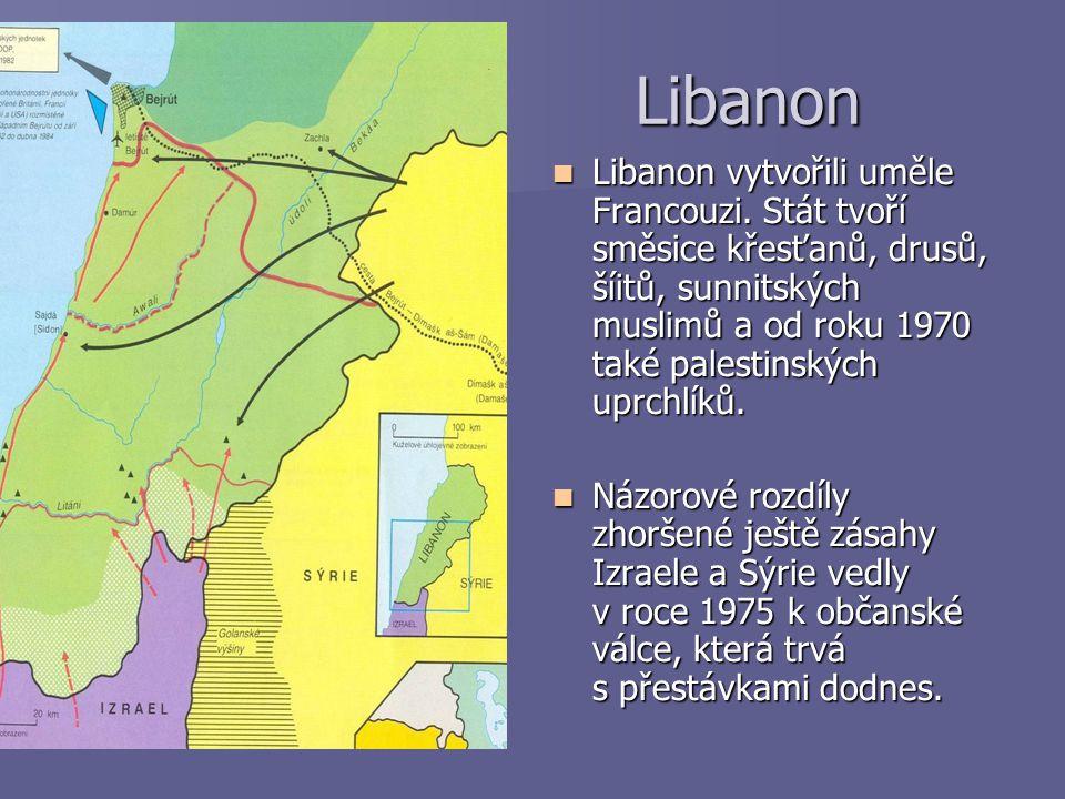 Libanon Libanon Libanon vytvořili uměle Francouzi. Stát tvoří směsice křesťanů, drusů, šíitů, sunnitských muslimů a od roku 1970 také palestinských up