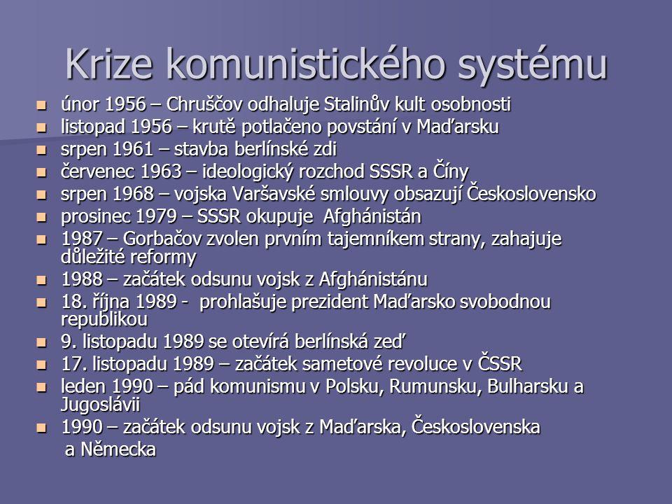 Krize komunistického systému únor 1956 – Chruščov odhaluje Stalinův kult osobnosti únor 1956 – Chruščov odhaluje Stalinův kult osobnosti listopad 1956