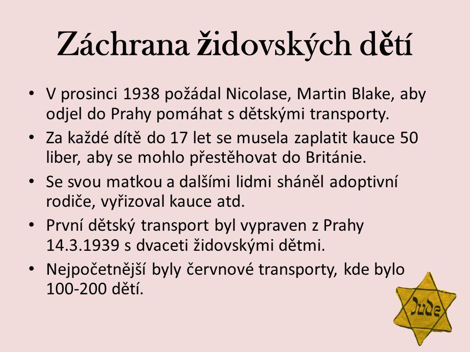 Záchrana ž idovských d ě tí V prosinci 1938 požádal Nicolase, Martin Blake, aby odjel do Prahy pomáhat s dětskými transporty. Za každé dítě do 17 let