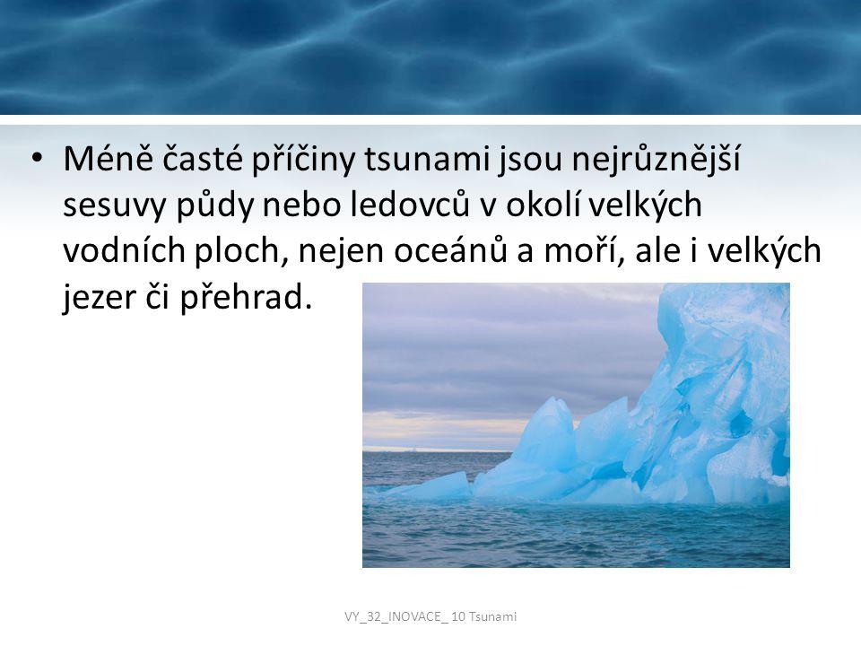 Méně časté příčiny tsunami jsou nejrůznější sesuvy půdy nebo ledovců v okolí velkých vodních ploch, nejen oceánů a moří, ale i velkých jezer či přehra