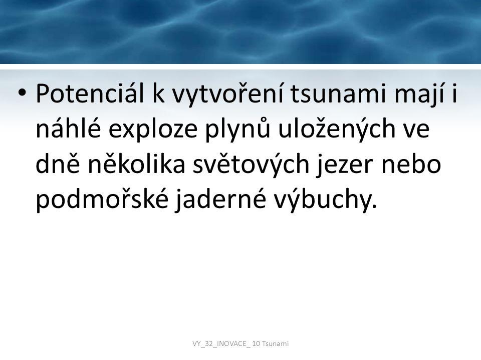 Potenciál k vytvoření tsunami mají i náhlé exploze plynů uložených ve dně několika světových jezer nebo podmořské jaderné výbuchy. VY_32_INOVACE_ 10 T