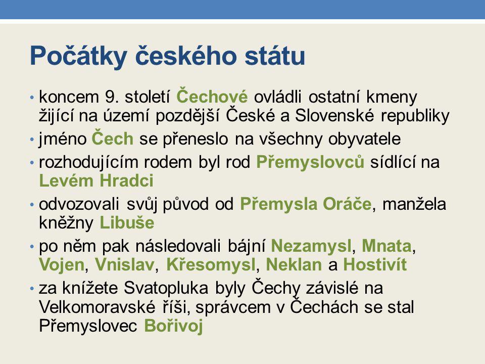 Počátky českého státu koncem 9.