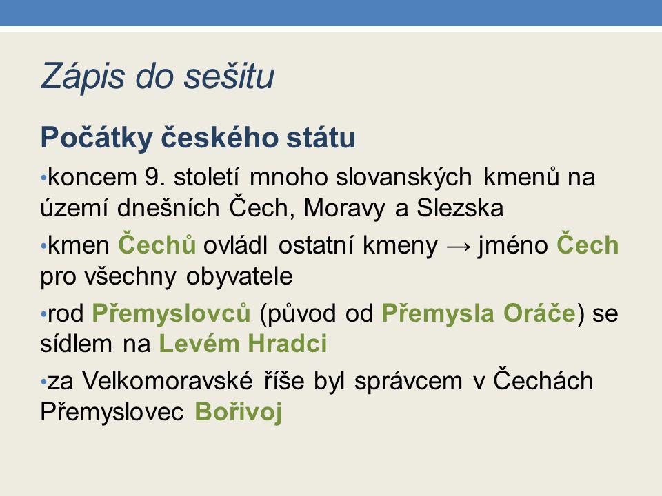 Zápis do sešitu Počátky českého státu koncem 9.