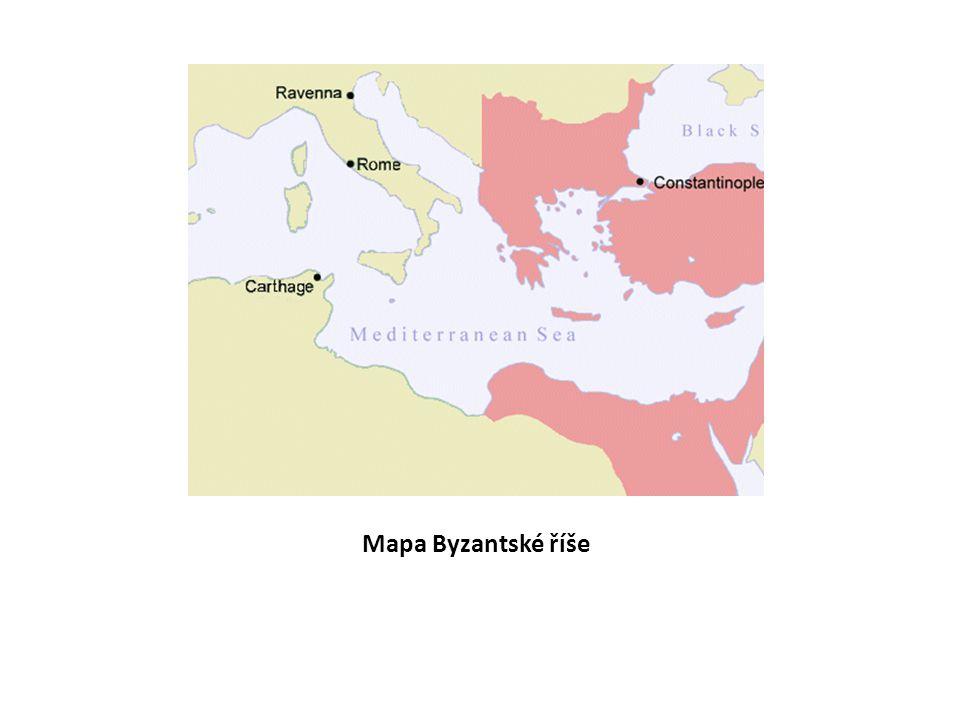 Vznikla z bývalé Východořímské říše 395 – 1453 Rozkládala se na území Egypta, Sýrie, Řecka, Malé Asie Pojmenována podle osady Byzantion, na jejím místě později založeno hlavní město říše KONSTANTINOPOL