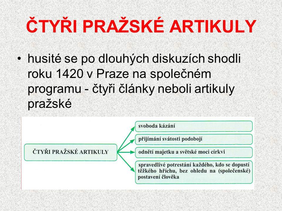 ČTYŘI PRAŽSKÉ ARTIKULY husité se po dlouhých diskuzích shodli roku 1420 v Praze na společném programu - čtyři články neboli artikuly pražské