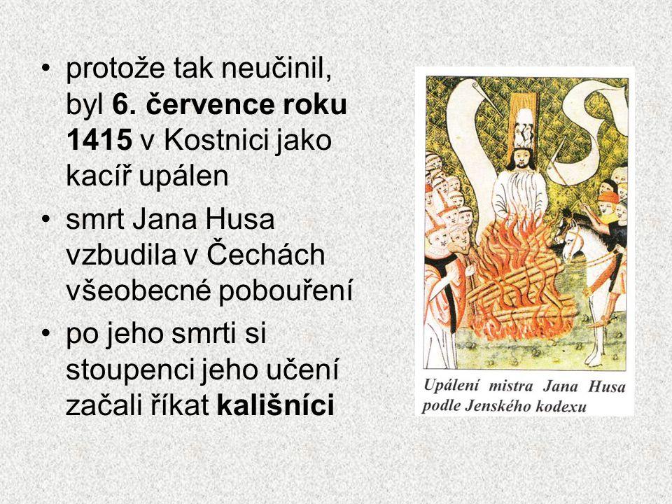 kalich – nádoba na víno při bohoslužbách, později symbol husitů odpustky – písemné doklady o odpuštění trestů za spáchané hříchy příjímání podobojí – chleba (hostie) jako těla Kristova i vína jako krve Kristova, od 1215 přijímali pouze kněží sloužící mši reformátor – člověk usilující nebo provádějící změny v různých oblastech života